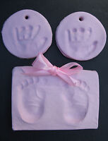Soft pink air drying clay dough,handprint footprint kit, cast imprint baby girl