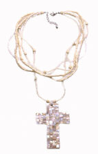 Traditional Iridescent Cross Pendant White/ Cream Beads Strands Necklace(Zx214)