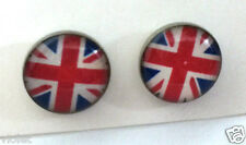 Union Jack flag round stud earrings NEW 10mm across England Great Britain UK