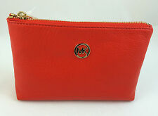 NEW Michael Kors MK Fulton Travel Case Cosmetic Bag Pebbled Leather Mandarin Red