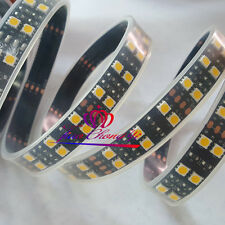 5M 16.4ft 12V warm White 5050 600 LED Double Row Tube Strip Light Black PCB IP67