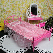 HQ !! Miniatures Bedroom Furniture Single Bed for Barbie Dolls Dollhouse Gift