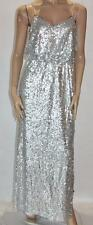 AIDAN MATTOX Designer Silver Sequins Evening Dress Size S BNWT #si106