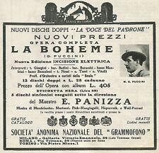 W6773 Dischi La Voce del Padrone - Puccini - Pubblicità 1928 - Advertising