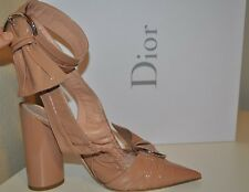 NIB Christian DIOR 2016 CONQUEST Slingback Pointy Toe Pumps Shoes Nude Patent 38