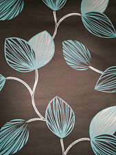 DESIGNER FEATURE WALL WALLPAPER BLACK  SILVER & TEAL LEAF  x