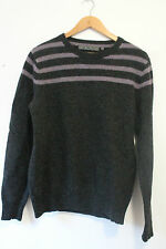 Vintage 90s Women's Jumper Wool Grey Purple Striped Size M FREDERIK ANDERSON