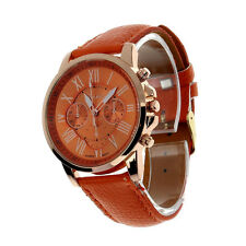 Fashion Geneva Roman Numerals Women Watch Faux Leather Analog Quartz Wrist Watch