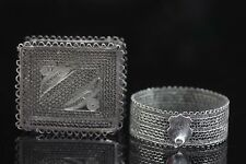 Vintage sterling silver 925 LOT Napkin ring matchboxes Holder Filigree hand made