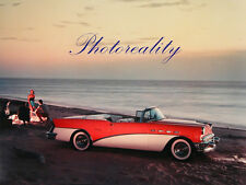 Buick Century Convertible 1956 on Beach Color Press  8 x 10 Photograph
