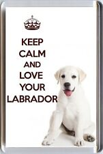 KEEP CALM and LOVE YOUR LABRADOR image of a Cream LABRADOR Puppy Fridge Magnet