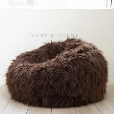 LARGE SHAGGY FUR BEAN BAG Cover Chocolate Brown Cloud Chair Beanbag Lounge Home