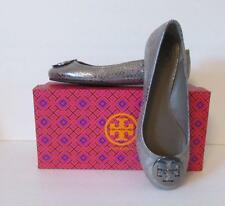 Tory Burch Reva metallic cobra pewter silver ballet flat 9 logo new snake shiny