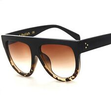 DESIGNER Inspired FLAT Top SHIELD Tortoise Brown Lens SUNGLASSES BLOGGERS FAV !!