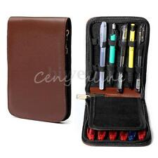 Fountain 12 Pen Roller Brown Leather Binder Case Holder Stationery Storage Pouch