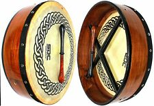 "NEW DEURA 14"" ROSEWOOD BODHRAN with CASE/BEATER CELTIC CIRCLE ON HEAD !!"
