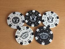 5 DIFFERENT GENUINE  JACK DANIELS POKER CHIPS   FROM 2008/12