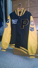 Hip Hop Letterman Varsity Jacket Leather Sleeves Black and Yellow size XL *RARE*