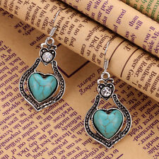 Tibetan Silver Crystal Turquoise Hollow Out Heart Dangle pendant Hook Earrings