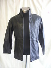 Mens Coat - Charles Klein, size S, black soft leather, smart casual, used - 7658