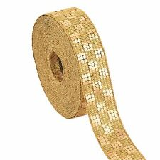 Indian Woven Sparkle Bridal Dress Border 9 YD Trim Ribbon Sewing Lace Golden