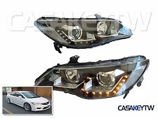 Acura CSX Led Headlights Black Halo LED Projector Honda Civic Type R FD1 FD2