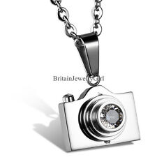 Charm Camera Pendant Stainless Steel Unisex Chain Necklace Color Silver Black