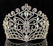 LUSH AUSTRIAN CRYSTAL RHINESTONE TIARA CROWN BRIDAL PROM PAGEANT T11884G GOLD