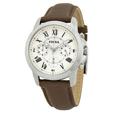 Fossil Grant Chronograph Dial Brown Leather Mens Watch FS4839