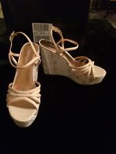 BCBG Hosanna Leather And Fabric Bronze And Tan Women's Wedges SHOE Size 10 New!
