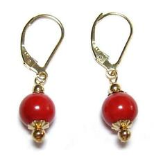 7mm Genuine Red Coral 14K Yellow Gold Lever Back Earrings