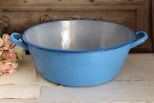 Vintage French Large Blue Enamel Basin
