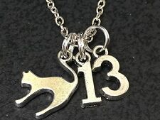 "Unlucky Scarry Cat & Number 13 Charm Tibetan Silver 18"" Necklace BIN"