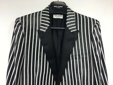 RARE SS13 Black White Shiny Saint Laurent Paris Jacket Blazer Hedi Slimane 48 46
