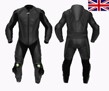 one piece full black Motorcycle Leather Suit MOTOGP Motorbike Leathers new