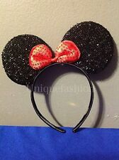 DISNEY MINNIE MOUSE EARS HEADBAND BLACK MULTI BOW PARTY BIRTHDAY KID ADULT GIFTS