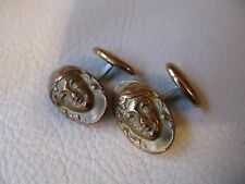 Antique Victorian Art Nouveau Woman Maiden Oval Gold T Swivel Back Cufflinks