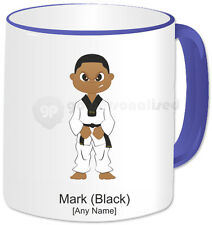 Personalised Martial Arts Mug- Tae Kwon Do Boy with Attack Face- Blue Handle