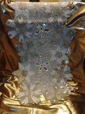 "WiNTER SnOWFLAKE LiNED TaBLE RuNNER GLaSS BeADS SeQUINS CrYSTALS 35"" X 13"" NeW!"