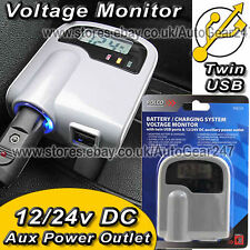 12v 24v Car Lighter Socket Adaptor USB Battery Digital Analyser Voltage Monitor