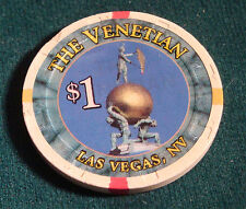 The Venetian $1 House Casino Chip Las Vegas $1.00 Poker Blackjack Roulette Craps