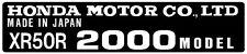 HONDA  XR50R  AU  HEADTUBE TAG  / FRAME DECAL REPRO