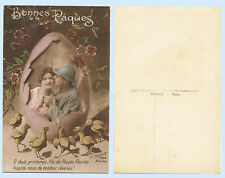 Pretty French Girl & Soldier in Easter Egg RPPC Tinted Real Photo Postcard