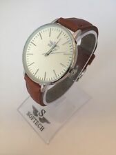 Silver & Tan Tone Designer Ladies Watches Women Softech Quartz Wrist Watch Retro