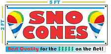 Full Color SNO CONES Banner Sign XL Size Snow Cone snocone Shaved Ice