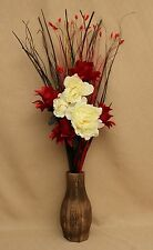 ARTIFICIAL SILK RED DRAGON & CREAM PENOY FLOWER GRASS BOUQUET IN WOOD VASE