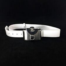 "3 oz Stainless Steel Buckle Hip Flask + Genuine Italian White Leather 40"" Belt"