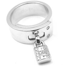 Authentic! Hermes 18k White Gold Diamond H Lock Band Ring Size 49