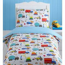 BRIGHT TRUCKS JUNIOR TODDLER BED DUVET COVER SET QUILT BEDDING VEHICLES