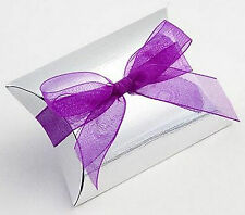 10 SILVER SILK BUSTINA/PILLOW FAVOUR FAVOR BOXES GIFT BOX